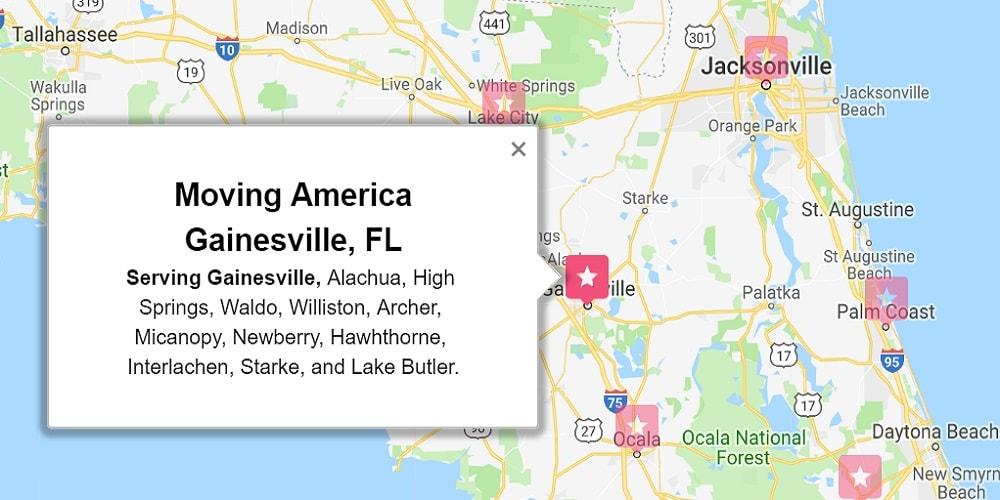 Moving America Service Area Gainesville FL